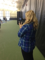Shooting for a tennis story
