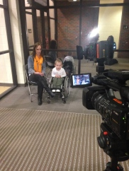 Interviewing Ryder and his mom Christi for Dance Marathon story