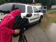 Shooting footage of the floods